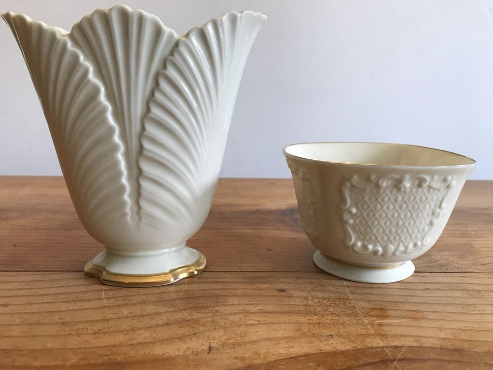 Lenox Ivory Porcelain Vase And Bowl Scallop Edge Top Gold Trim Candy