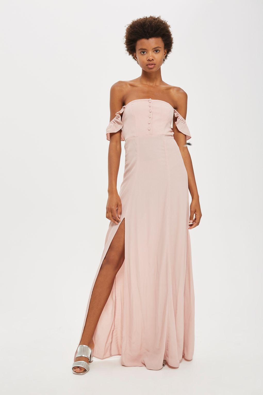 Pink dress topshop  Button Bardot Maxi Dress by Flynn Skye  Maxi dresses Topshop and