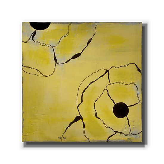 Poppy Outline on Yellow II by Laura Gunn - LG163A - GalleryDirect