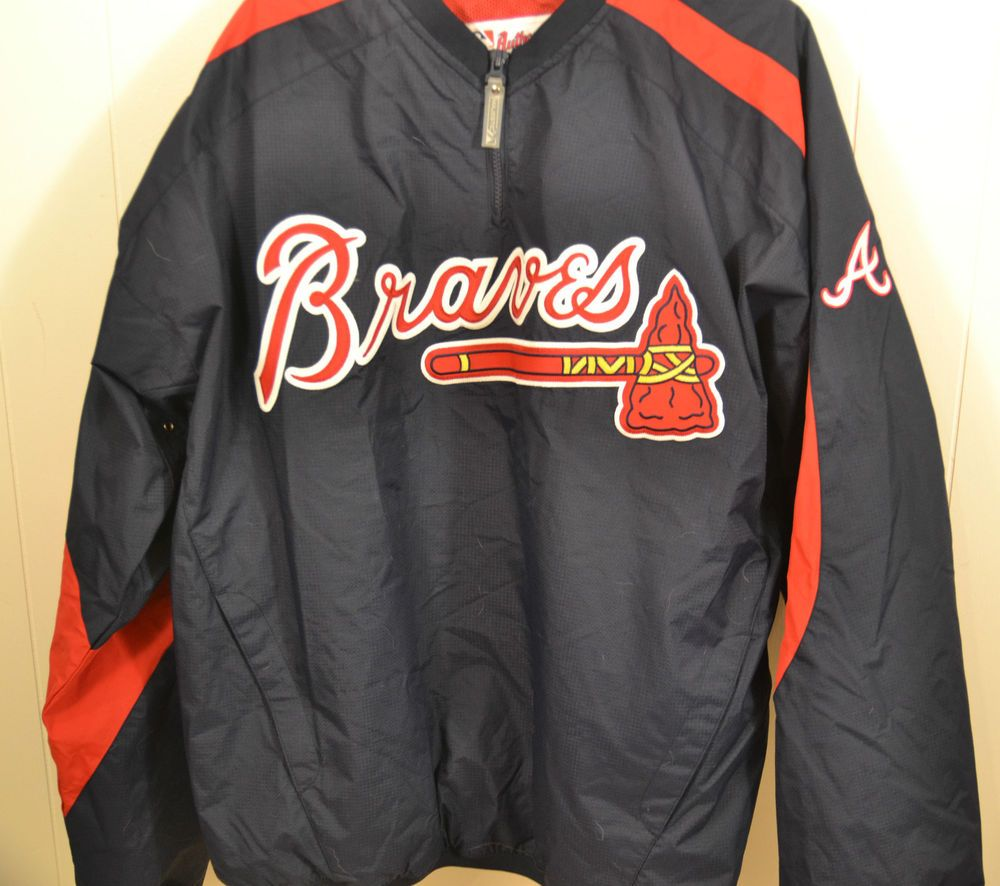 Majestic Atlanta Braves Pullover Warm Up Windbreaker Jacket Mens Xl Blue Windbreaker Jacket Mens Windbreaker Jacket Mens Xl