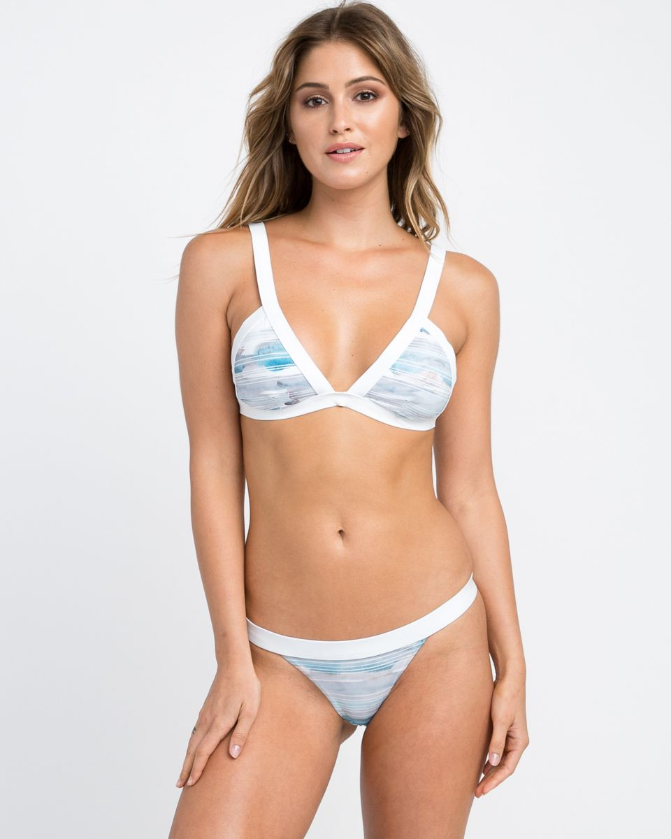 a082f5868510e The RVCA Washed Lines Triangle Bikini Top is a printed fixed triangle swim  top with wide contrast bindings and a watercolor striped print at the bust.  I..
