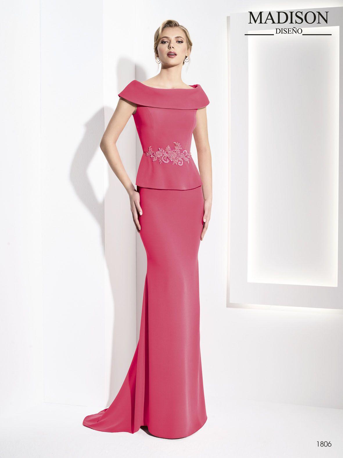 vestido largo fiesta cuello redondo elegante | Madrina | Pinterest ...