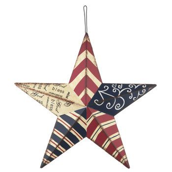 Red, White & Blue Vintage Tin Star Wall Decor | Holiday ...
