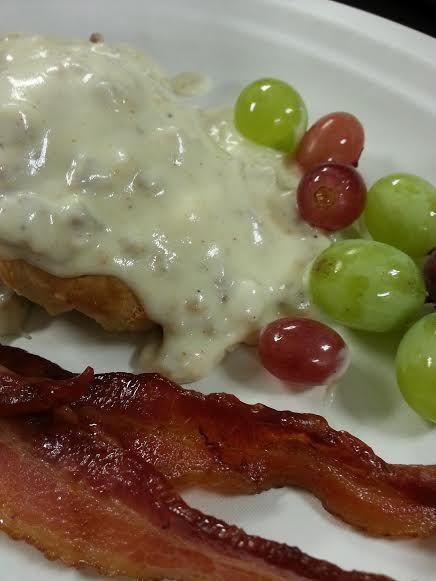 #sausagegravy #biscuit #bacon #breakfast #LogCabinCatering