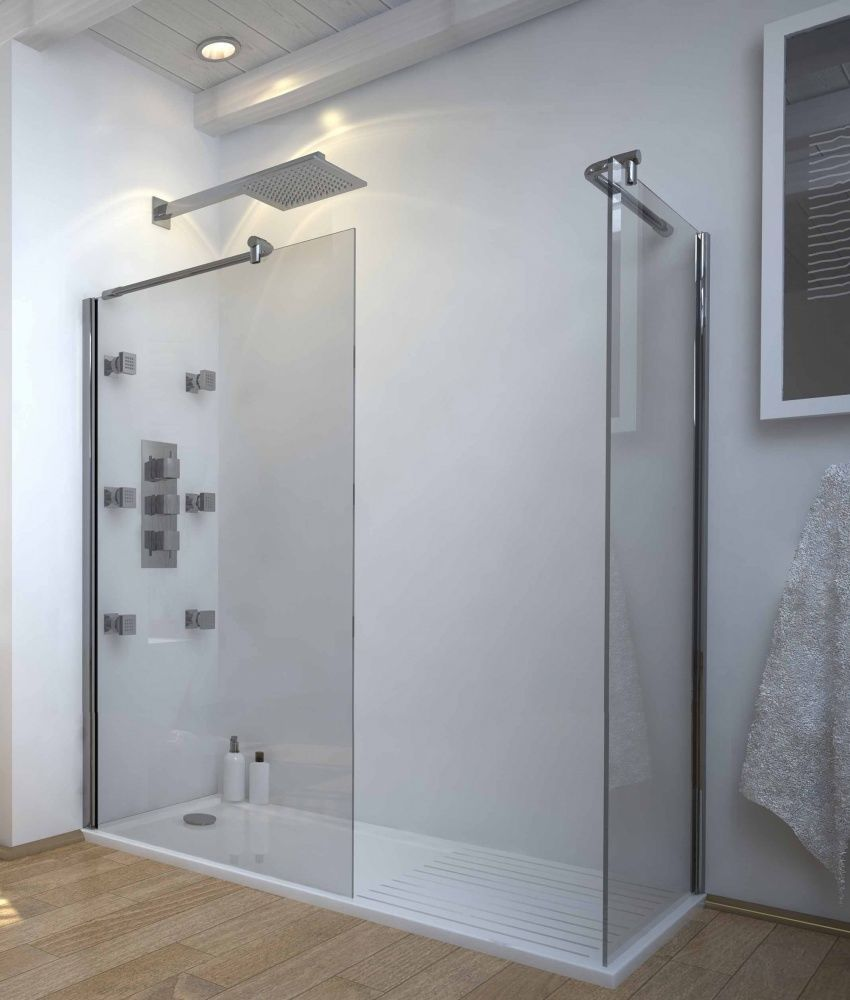 1600 x800 Walk In 8mm Glass Wetroom Shower Cubicle with Tray and ...