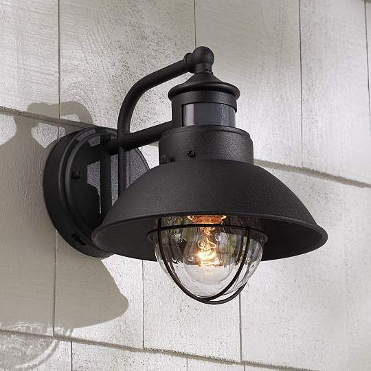 Fallbrook Black Motion Sensor Outdoor Wall Light Eu5y111 Euro