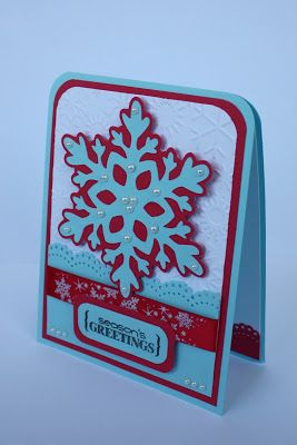 """Faith Abigail Designs: December 2011 The snowflake was cut from the Cricut Winter Lace cartridge at 3.25"""" and embellished with pearls."""