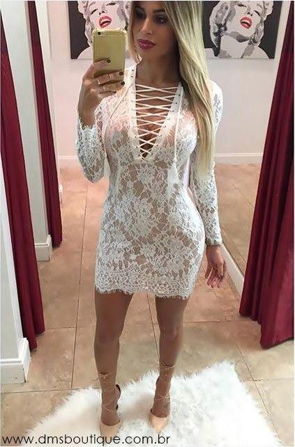 Vestidos de renda curto manga comprida