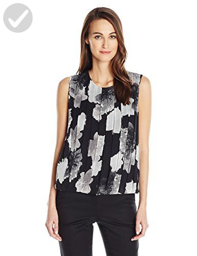 Calvin Klein Women's Pleat Front Sleeveless Top, Tin/Multi, S - All about women (*Amazon Partner-Link)