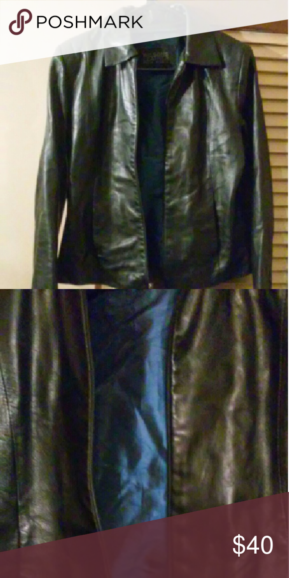 BLACK LEATHER JACKET! Wilson's Leather!! Beautiful blue