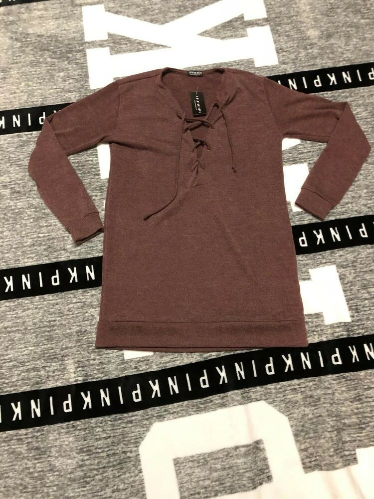 Fashion Nova Lace Up Front Sweater Dress Red Brown Size