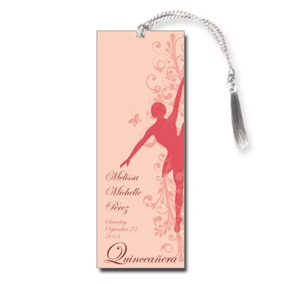 Ballerina Quinceanera Keepsake Bookmark