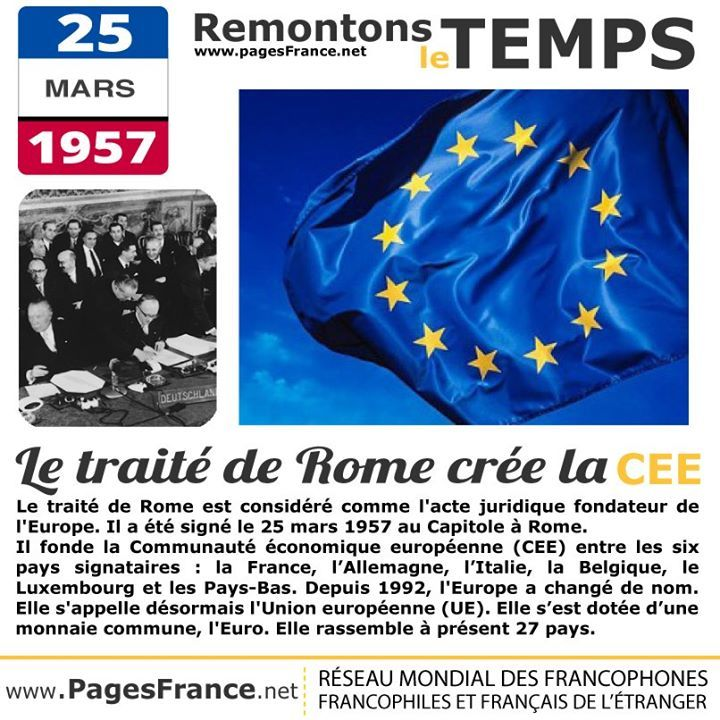 25 Mars 1957 Le Traite De Rome Cree La Cee Traite De Rome Histoire En Francais Culture Generale