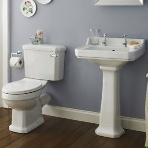 Traditional Victorian Edwardian Carlton Bathroom Suite Basin Toilet