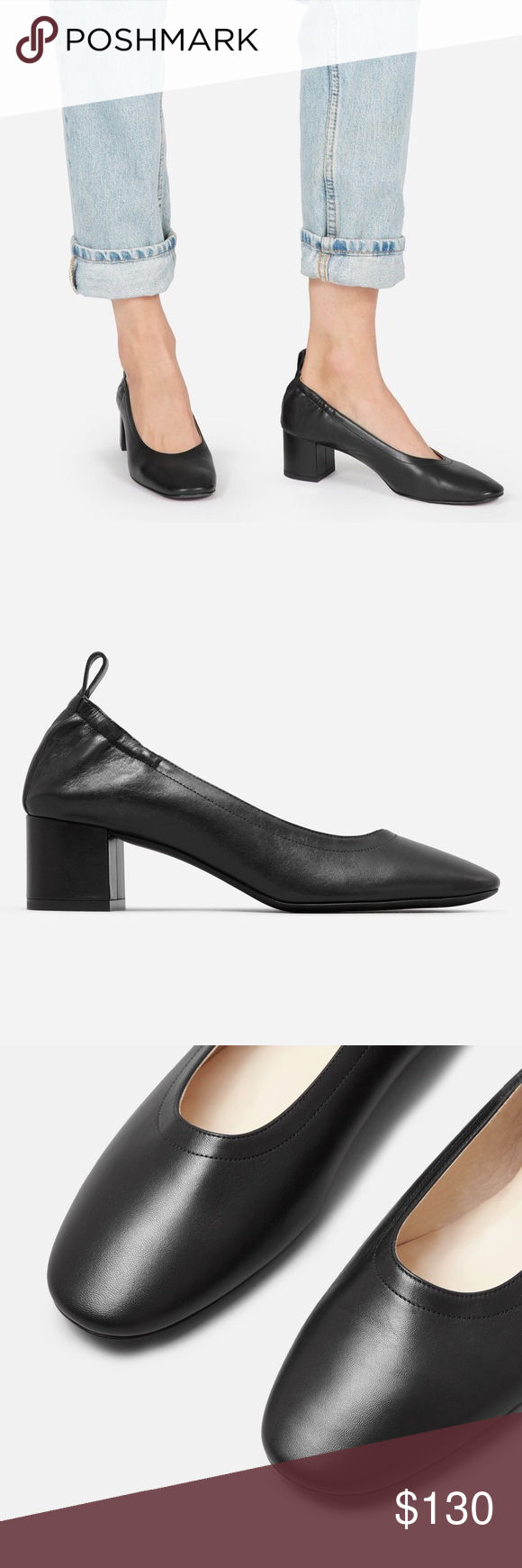 4d4d51b3cb75 Everlane Day Heel Black leather pumps NWT 5 Comes with box. Original  packaging. New
