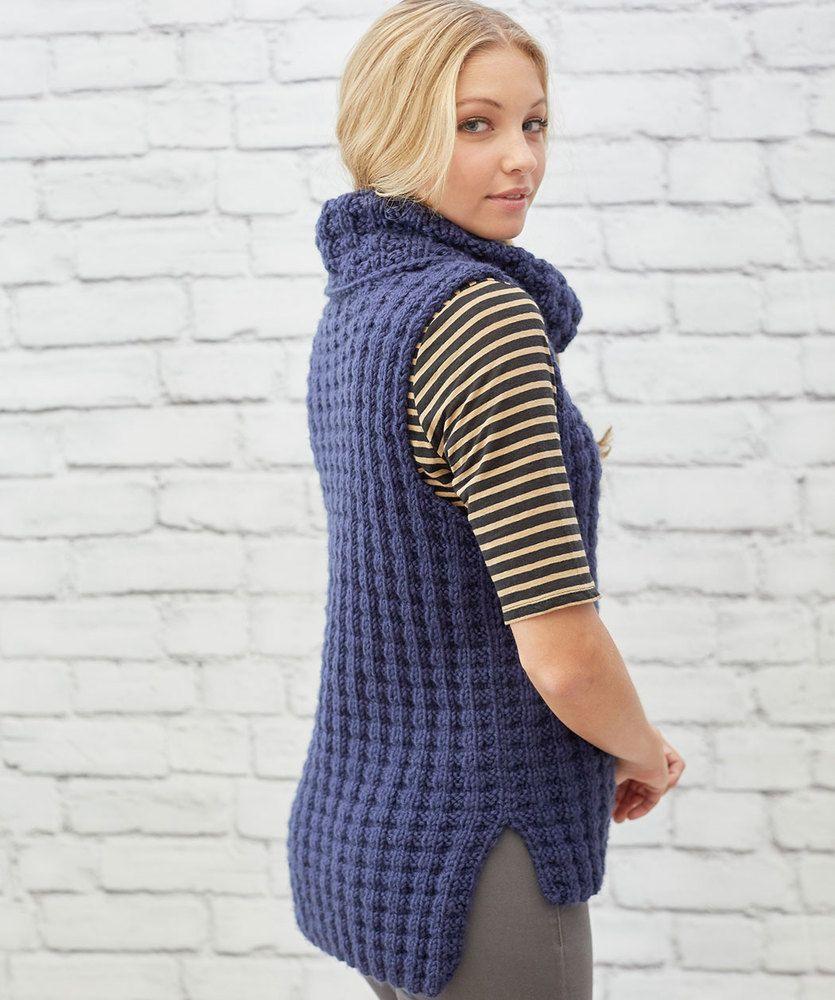bfcb95e5b00a Waffle Stitch Vest Free Knitting Pattern