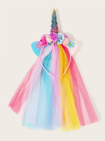 Toddler Girls Flower & Unicorn Decor Mesh Headband #kidshairaccessories