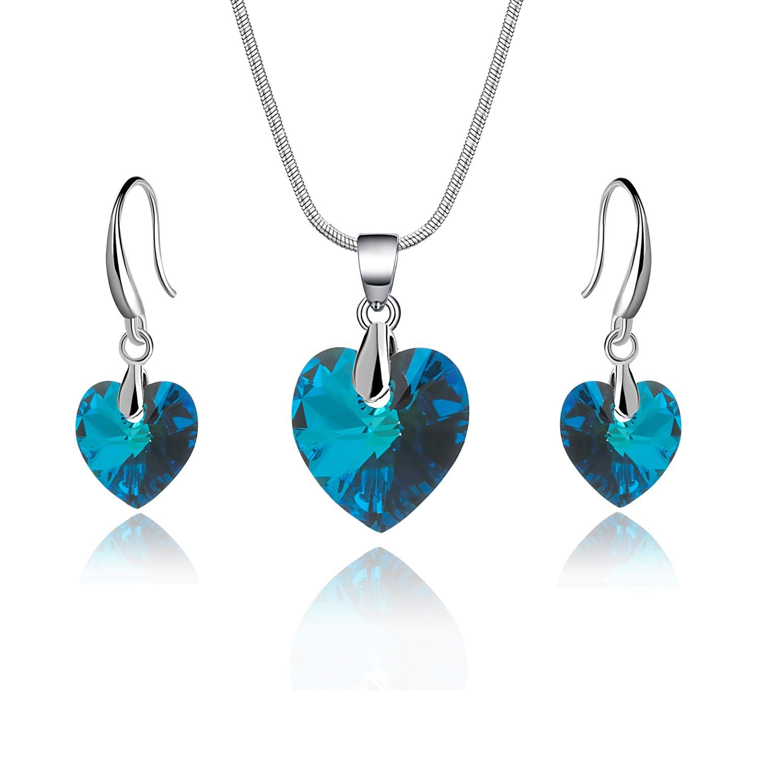 Evevic Swarovski Crystal Heart Necklace Earrings Set For