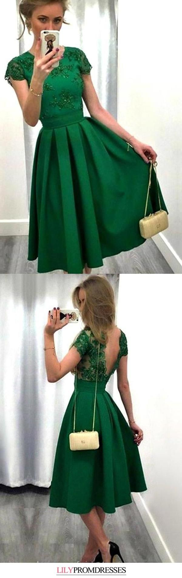Casual A-line Scoop Satin Appliques Lace Knee-length Backless Short Sleeve Prom Dresses