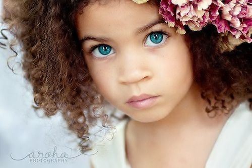 Gorgeous Little Girl With Curly Hair Blue Green Eyes Beautiful
