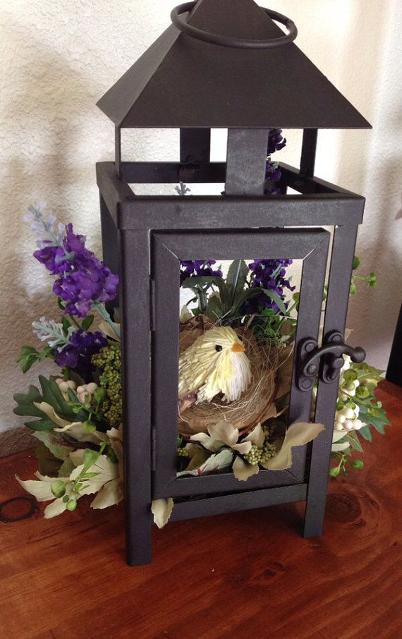 Little Bird House Lantern Floral Arrangement   Home Decor   Artificial  Flowers