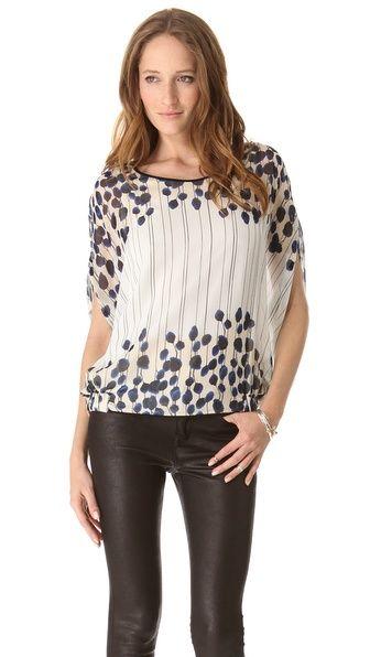 DVF silk top . . . pair with dark denim straight leg jeans or a pencil skirt
