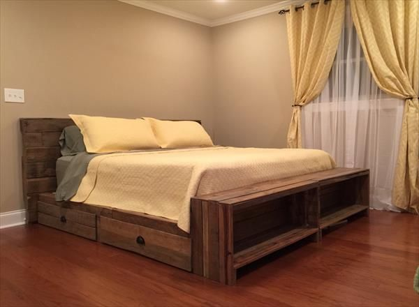 DIY Pallet Bed with Storage Drawers 101 Pallets Ideas para el