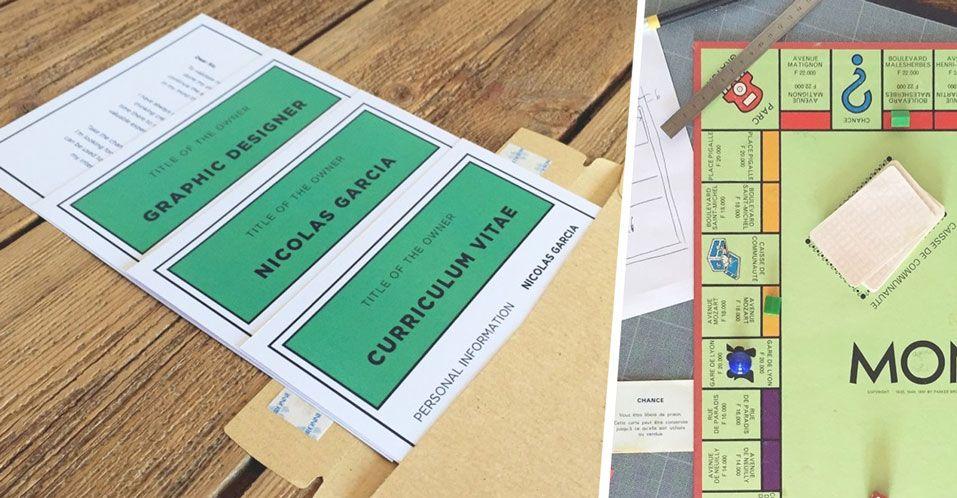 cet  u00e9tudiant cr u00e9e des cartes monopoly en guise de cv pour trouver un stage dans la pub