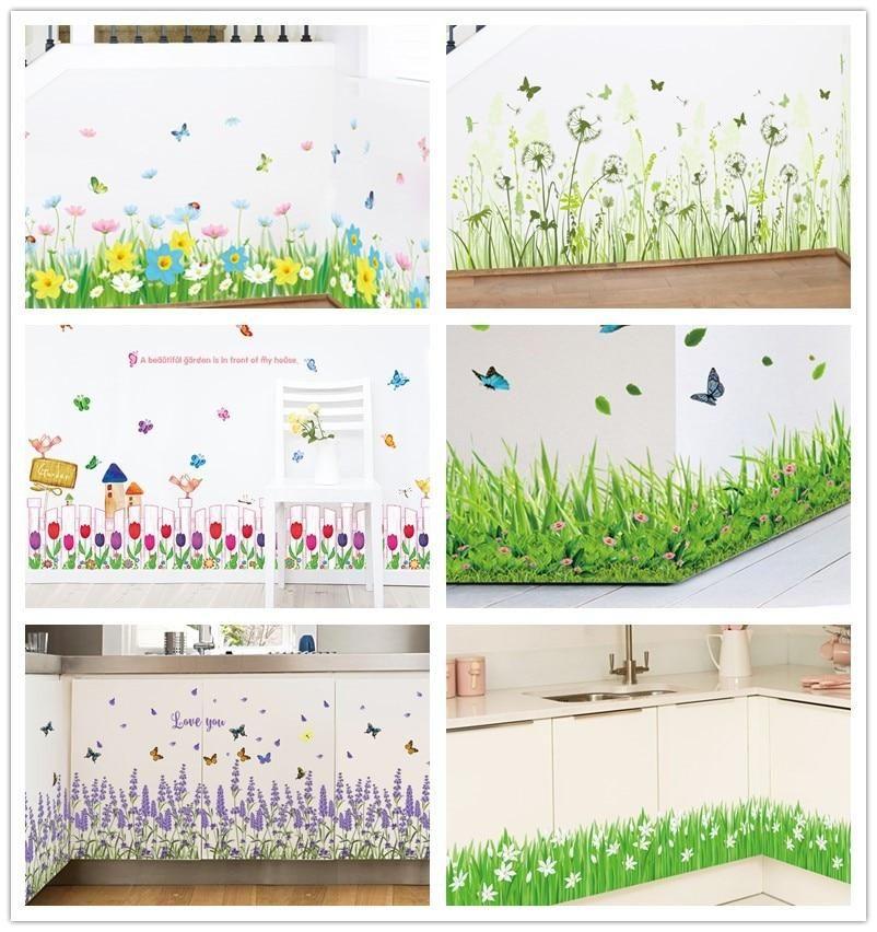 Wandtattoo 3d Grunes Gras Schmetterling Blumen Wandaufkleber Wohnzimmer Badezimmer Kuche Wandaufkleber Aufkleber Wandtattoo