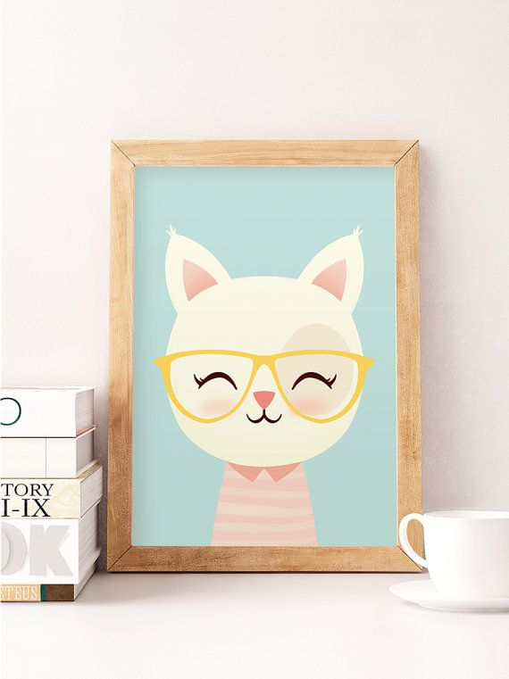chat mignon imprimer art mural chat impression d animaux. Black Bedroom Furniture Sets. Home Design Ideas