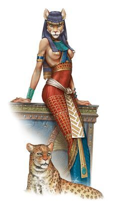 Bastet Goddess of the sun, pleasure and play. Goddess of the East, childbirth, generosity, music, fire, healing, sex, the moon, and protection. She is the mother of all cats and protector of all animals.