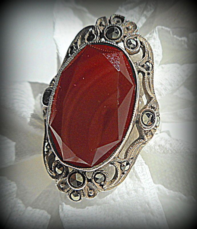 Vintage Art Deco Carnelian Marcasite Sterling Ring Germany ~ Size 5 #Germany #Statement