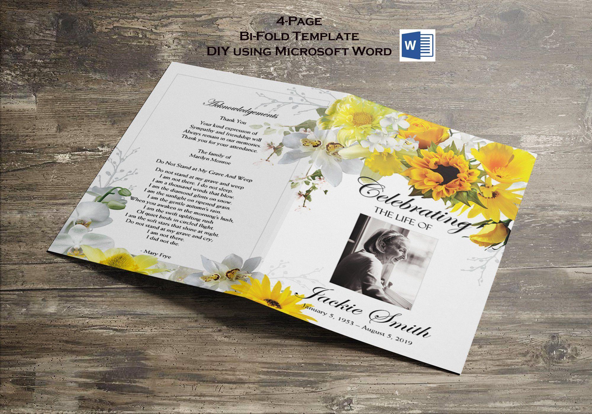 Printable Funeral Program Template Memorial Program Remembrance Editable Yellow Flower Funeral Program Template Funeral Programs Yellow Flowers Bouquet