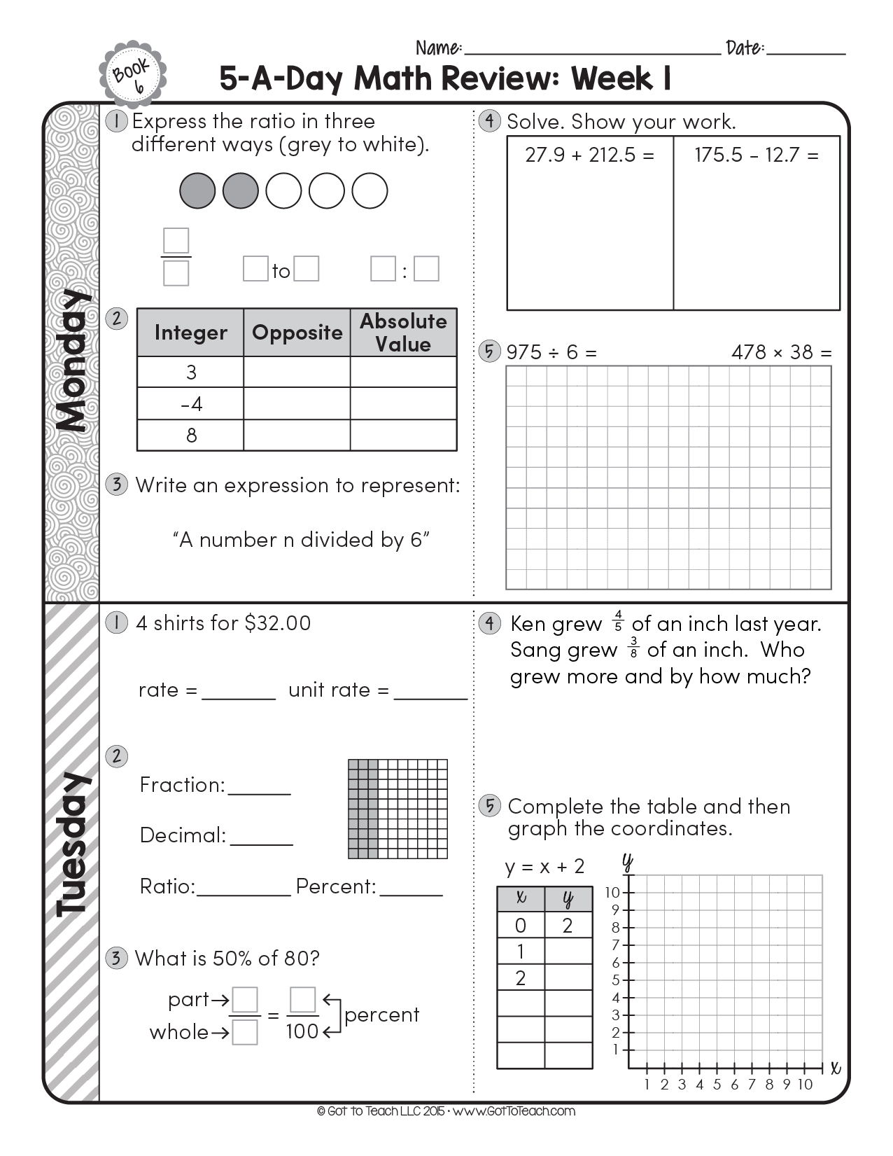 Daily Math Spiral Worksheet   Printable Worksheets and Activities for  Teachers [ 1651 x 1276 Pixel ]