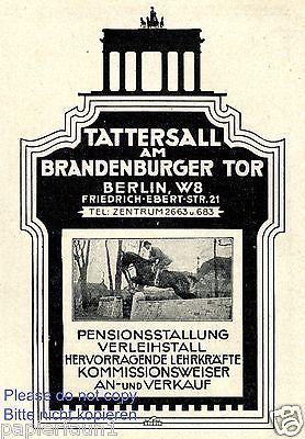 Tattersall Brandenburger Tor Reklame Von 1929 Reitstall Berlin Werbung Pferd Brandenburger Tor Berlin Brandenburger Tor Berlin