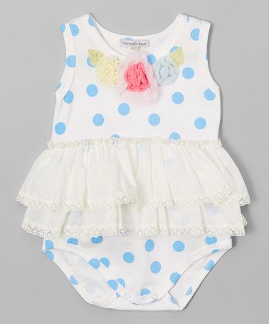Another great find on #zulily! Blue & White Floral Ruffle Bodysuit - Infant #zulilyfinds