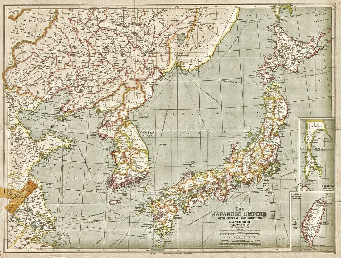 1943 map in English of the Japanese Empire. Shows Japan, Korea, and ...