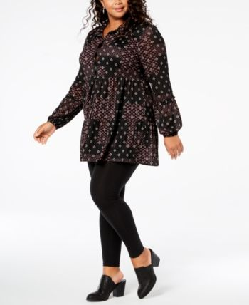9f57f538eb5 Style   Co Plus Size Printed Tiered Mesh Top