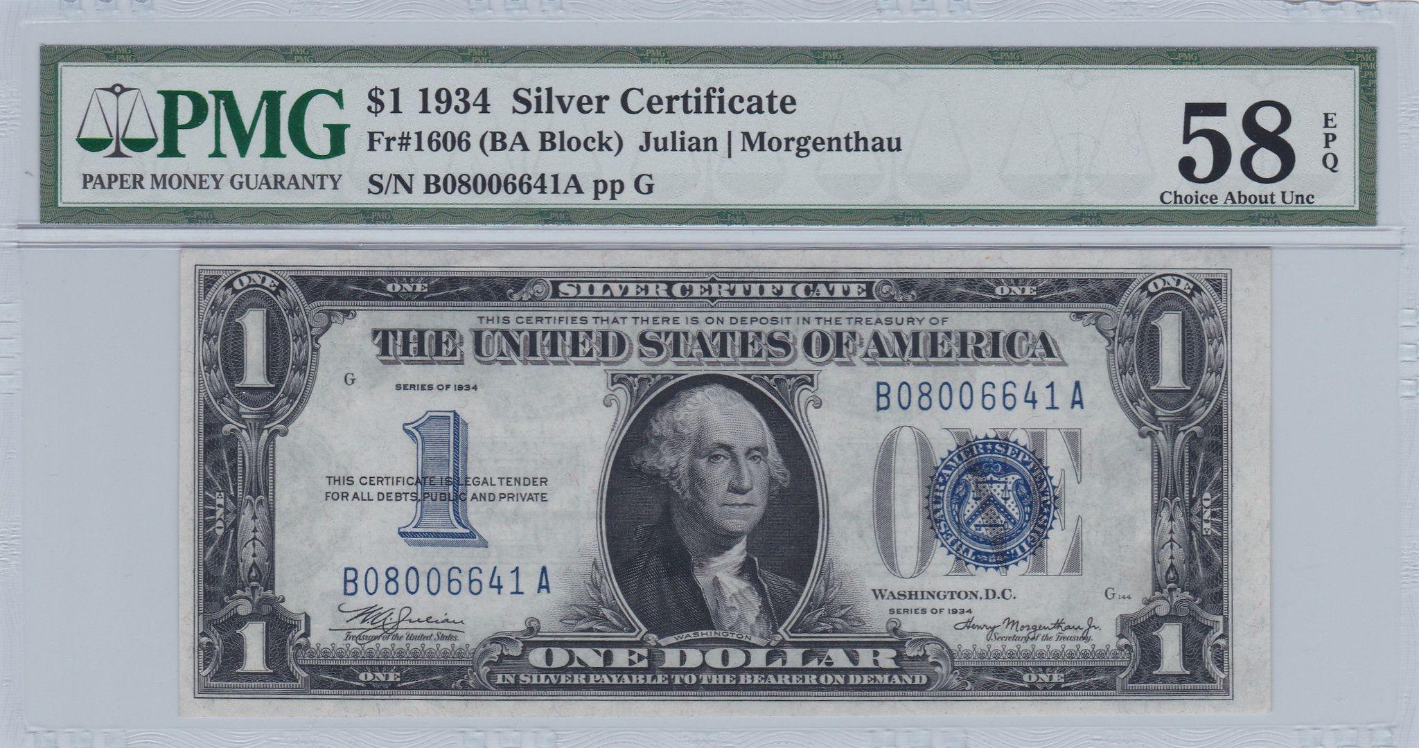 1934 1 Silver Certificate Dollar Pmg 58 Epq Fr 1606 B A Block Funny