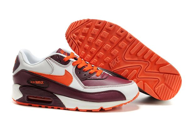 Free Shipping 6070 OFF 302519 181 Nike Air Max 90 Leather Sail Orange Blaze Deep Garnet AMFM0663