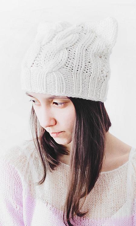 hatcat knitted hat winter hat cat hat cat ears hat chunky