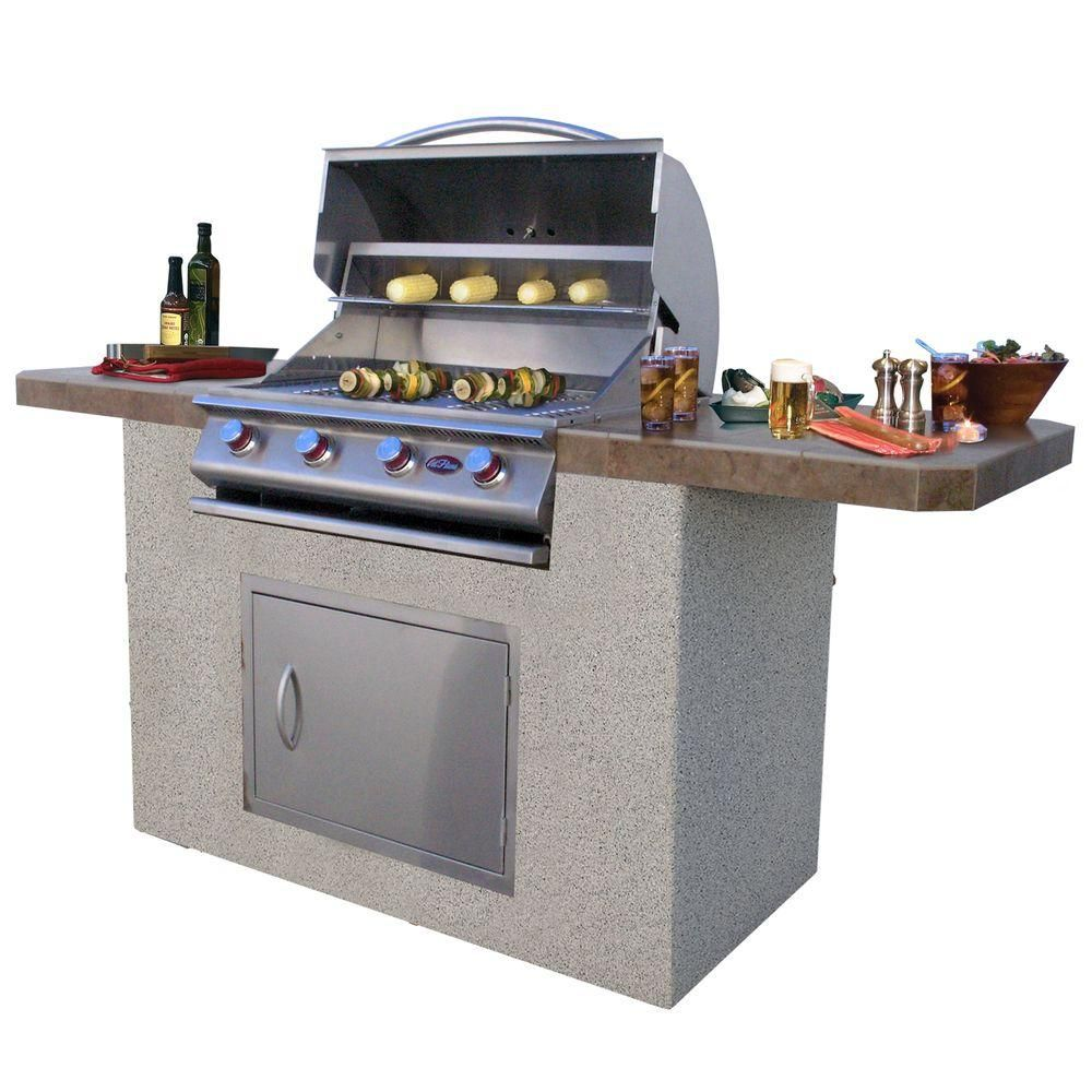 Cal Flame 7 Ft Stucco And Tile Bbq Island With 4 Burner Grill In Stainless Steel Bistro 470 A Outdoor Kitchen Design Bbq Island Built In Grill