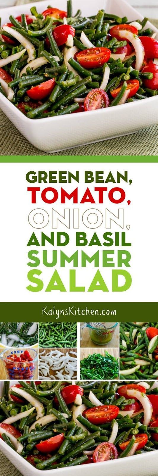 Seriously, this Green Bean, Tomato, Onion, and Basil Summer Salad was SO AMAZING! And this wonderful salad is low-carb, gluten-free, dairy-free, vegan, Paleo, Whole 30, and South Beach Diet friendly, so I'd say that makes it perfect for just about everyone! And if you like fresh green beans and tomatoes this is a must-make salad for summer. [found on KalynsKitchen.com.]