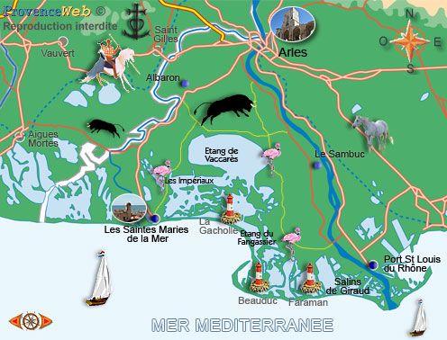 Camargue Karte.Carte De La Camargue Travel Camargue Et Provence