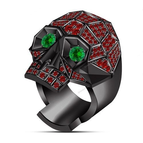 Brilliant Round Cut 3.90ct Red Garnet Green Sapphire Man's Biker's Skull Ring…