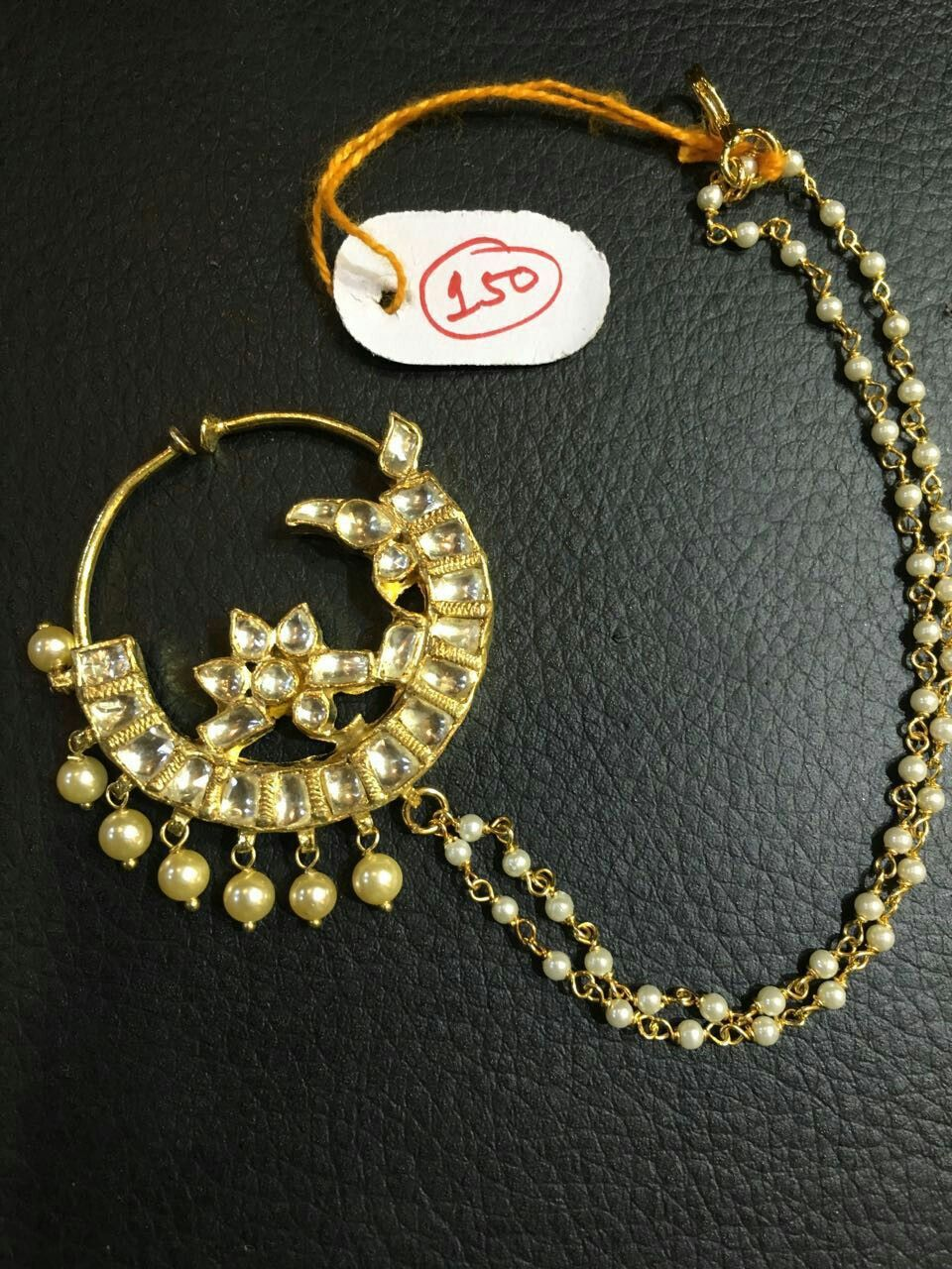About nath nose ring mukku pudaka on pinterest jewellery gold nose - Nath Nose Ring Punjabi Bride