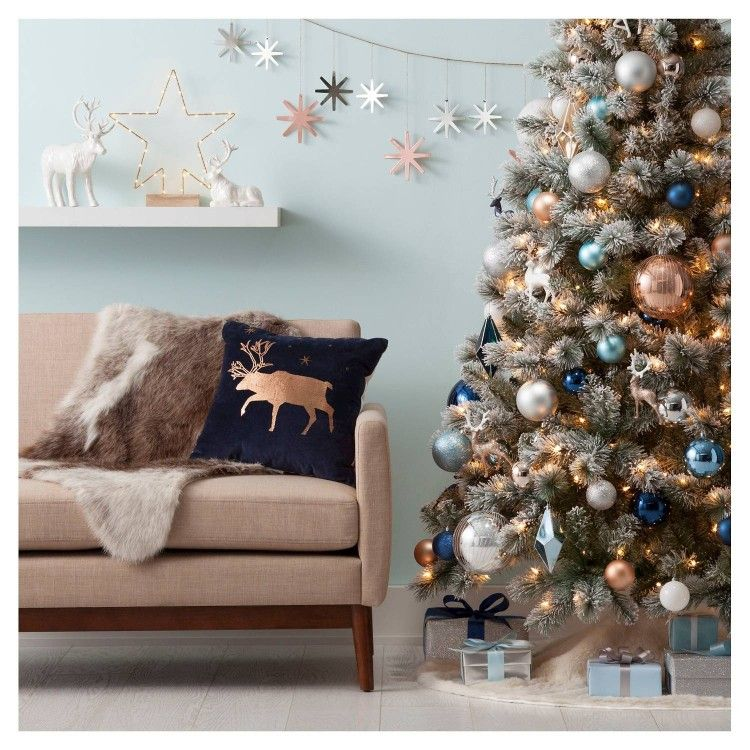 Blue Copper And Silver Theme Blue Christmas Decor Christmas Apartment Copper Christmas