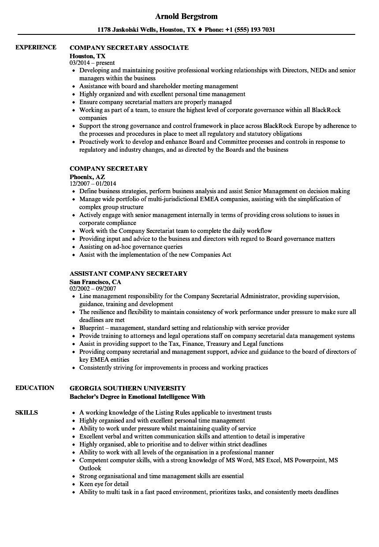 Company Secretary Resume Samples Velvet Jobs within