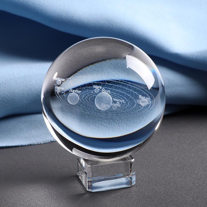 3d Solar System Crystal Ball 3d Solar System Engraved Crystal Crystal Ball