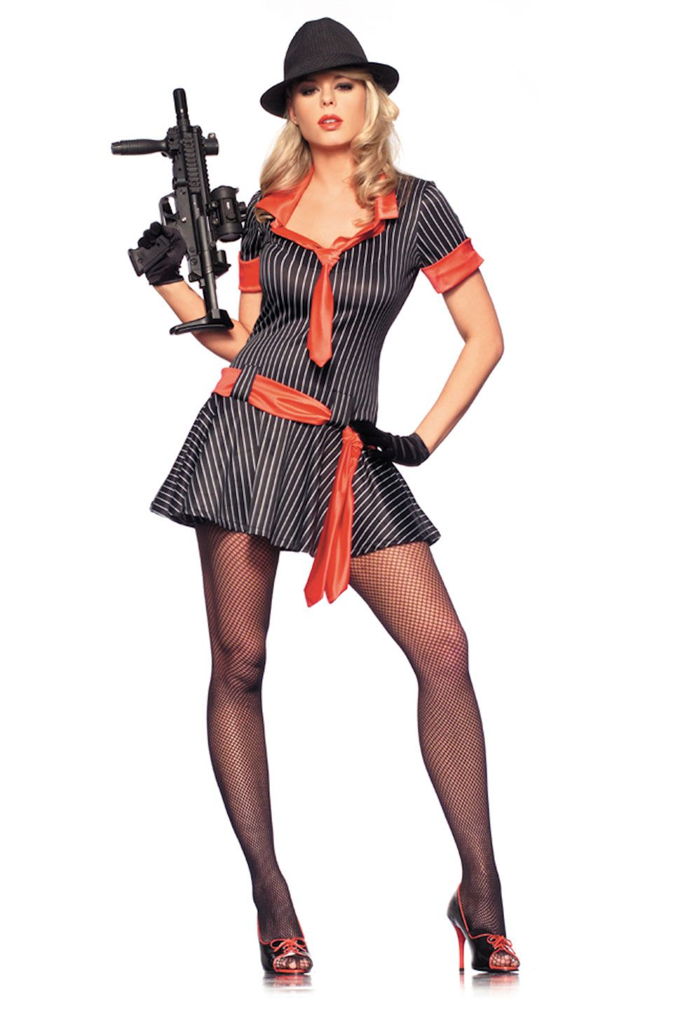 be wicked 4 piece gangsta girl costume in black and white 8800 - Female Gangster Halloween Costumes
